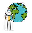planet earth with rocket flying vector image
