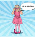 pop art girl in mothers shoes and sunglasses vector image vector image