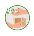 purchase concept - hands with money and box vector image vector image