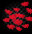 red heart translucent arranged in a spiral shape vector image vector image