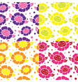 seamless pattern with cute doodle flowers vector image vector image