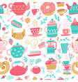 seamless pattern with hand drawn tea time symbols vector image vector image