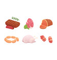set fresh meat products steak in cartoon style vector image vector image