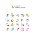 set line icons insurance vector image vector image
