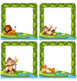 set of animal nature frame vector image vector image