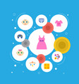set of baby icons flat style symbols with diaper vector image vector image