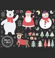 set of cute christmas elements vector image vector image