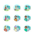 set of multicolor transportation-road icons vector image