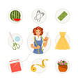 sewing matching game vector image vector image