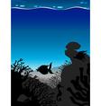 Silhouette scene underwater with blue wave vector image