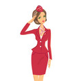 smiling saluting woman in red uniform vector image vector image