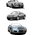 three cabriolets on the road vector image vector image