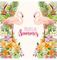 Tropical Flowers Flamingo Bird Tropical Background vector image