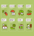 vegetarian products color linear icons set vector image
