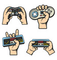 vintage colored gaming elements set vector image