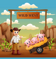 wild west gate landscape with cowboy and many pigs vector image vector image