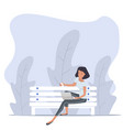 woman sitting bench with notebook nature vector image vector image