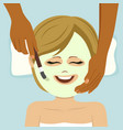 young cute woman having facial mask service in spa vector image vector image