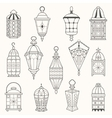 Set of old lamps Lantern dark silhouettes vector image