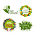 easter spring holiday cartoon badge set design vector image