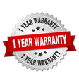 1 year warranty 3d silver badge with red ribbon vector image vector image