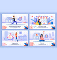 active life in pregnancy flat banners set vector image vector image