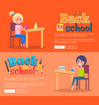 back to school posters set with girl and boy vector image vector image