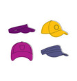 baseball cap icon set color outline style vector image vector image