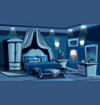 bedroom in night with lamps light vector image vector image