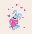 blue cute cartoon bunny keeping heart with love vector image vector image