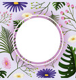 border template with purple and pink flowers vector image vector image
