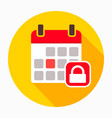 calendar lock security icon vector image vector image