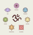 Chakra icon set with om calligraphy vector image vector image