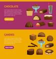 chocolate sweets banner horizontal set vector image vector image