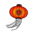 color sketch chinese red lanterns vector image