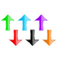 colored arrows straight up and down shiny 3d vector image