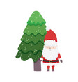 cute santa claus with tree snow happy christmas vector image