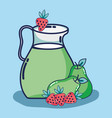 delicious jar juice beverage to refresh vector image vector image