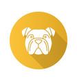 english bulldog flat design long shadow glyph icon vector image