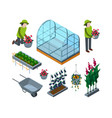 farm greenhouse isometric agricultural vector image
