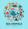 flat sea life round concept vector image vector image