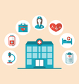 Flat trendy icons of hospital and another medical vector image