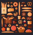 fresh bread and pastries in flat style vector image vector image