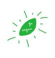 go vegan handwritten flat green leaf design vector image vector image
