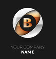golden letter b logo symbol in the circle shape vector image