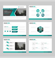 green triangle presentation templates infographic vector image vector image