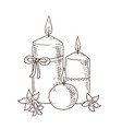 hand drawn candles with flowers vector image vector image