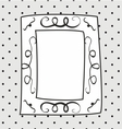 Hand drawn frame on polka dots grey background vector image vector image