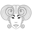Hand drawn zentangle Zodiac sign Aries with girl vector image