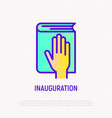 hand on constitution icon oath on inauguration vector image